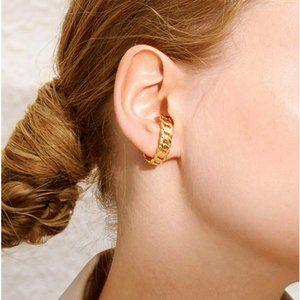 Gold Chain Link Sleek Large Faux Cuff Earrings